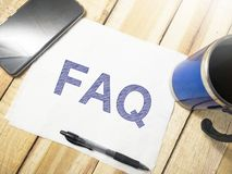FAQ, Frequently Asked Questions. Words Typography Concept. FAQ, Frequently Asked Questions. Motivational internet business words quotes lettering typography stock photo