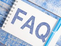 FAQ, Frequently Asked Questions. Words Typography Concept. FAQ, Frequently Asked Questions. Motivational internet business words quotes lettering typography royalty free stock photo