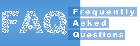 FAQ gefüllt mit Frage Mark Blue Stripe Stockbild