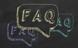 FAQ. Hand drawing text `FAQ` on blackboard vector illustration