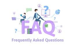 FAQ, hecho con frecuencia preguntas Tabla del concepto con palabras claves, letras e iconos Ejemplo plano coloreado del vector en ilustración del vector