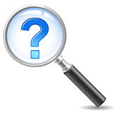 Faq-icon. Magnifie with a question mark stock illustration