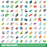 100 faq icons set, isometric 3d style. 100 faq icons set in isometric 3d style for any design vector illustration Stock Images