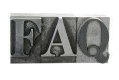 ?FAQ? im alten Metalltypen Stockfotografie