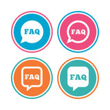 FAQ information signs. Help speech bubbles. Stock Photo