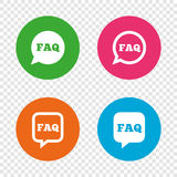 FAQ information signs. Help speech bubbles. Stock Image