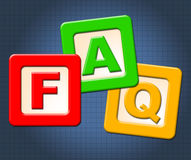 Faq Kids Blocks Means Frequently Asked Questions And Counselling stock illustration