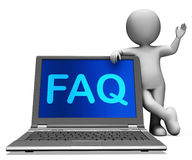 Faq Laptop And Character Shows Solution And Frequently Asked Que Stock Photo