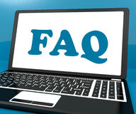 Faq On Laptop Shows Solution And Frequently Asked Questions Onli Royalty Free Stock Images