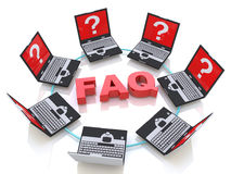 FAQ and laptops with questions Stock Image