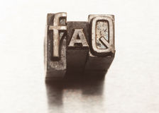 FAQ. Letters with vintage grunge letterpress type stock image