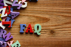 FAQ    letters   on   wood Stock Photo
