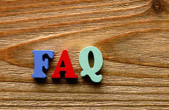 FAQ    letters   on   wood Royalty Free Stock Photos