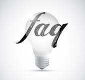 Faq light bulb sign illustration design Stock Image