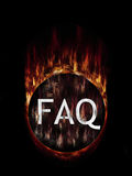 FAQ Mysterious. Frequently asked questions burning button ball Stock Image