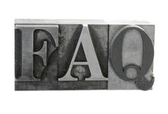 'FAQ' in old metal type Stock Photography