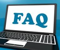 Faq op Laptop toont Oplossing en vaak Gestelde Vragen Onli Royalty-vrije Stock Afbeeldingen