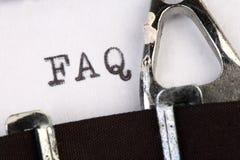 FAQ op oude schrijfmachine Royalty-vrije Stock Afbeelding