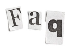 Faq-ordet gjorde ââoftidningsbokstäver Royaltyfri Bild
