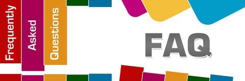 FAQ - Perguntas frequentemente feitas listras coloridas quadrados arredondados ilustração royalty free