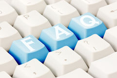 FAQ pisać na klawiaturowych guzikach Fotografia Royalty Free