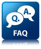 Faq (question answer bubble icon) blue square button Royalty Free Stock Photography
