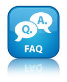 Faq (question answer bubble icon) special cyan blue square butto Stock Photography