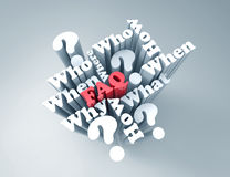FaQ. Questions and answers 3d word concept Royalty Free Stock Photography