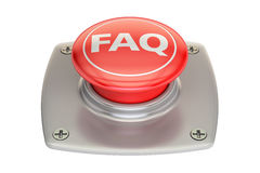 FAQ red button, 3D rendering Royalty Free Stock Images