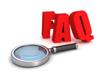 FAQ red letters with magnifier glass. 3d render illustration Stock Image