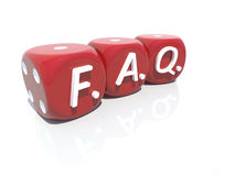 FAQ red plastic gambling casino cubes 3d Stock Photos