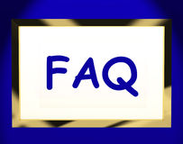 Faq On Screen Shows Assistance Royalty Free Stock Photo