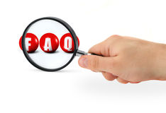 FAQ sign enlarged Stock Image