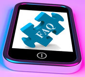 FAQ Smartphone Shows Frequently Asked Questions Royalty Free Stock Photos