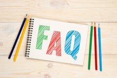 FAQ som frågas vanligt frågebegrepp royaltyfria foton