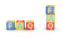 FAQ spelled by abc cubes. Word FAQ spelled by abc cubes  on white background Royalty Free Stock Photo