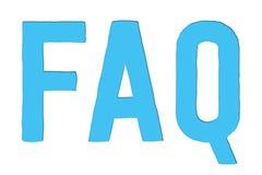 FAQ stellte häufig Fragen, Abkürzungswort, dastext in der hellblauen Farbe lokalisiert auf weißem Hintergrund herausschnitt stock abbildung