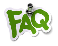 FAQ sticker. Green FAQ sticker over a white background fixed with a metal thumbtack vector illustration