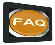 FAQ Tablet Shows Frequently Asked Question Stock Image
