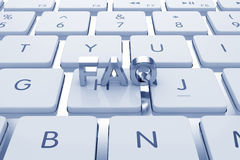 FAQ text on computed keyboard Stock Photo