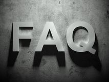 FAQ text with shadow, word Stock Image