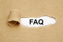 FAQ Torn Paper Stock Photo