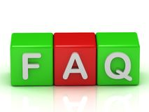 Faq two green and one red cube Royalty Free Stock Image