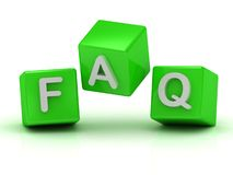 Faq two green and one red cube Royalty Free Stock Photography