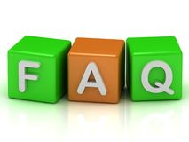 Faq two green and one red cube Royalty Free Stock Photos