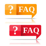 FAQ. Two FAQ Speech bubbles symbols stock illustration