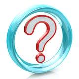FAQ-vraagteken en blauwe cirkel Stock Afbeelding