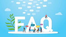 Faq vroeg vaak vraagconcept met teammensen en grote woordenteksten met het gesprek van de bellentoespraak met blauwe moderne kleu royalty-vrije illustratie