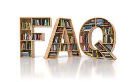 FAQ vroeg vaak vragenconcept Boekenrek met boek in F stock illustratie