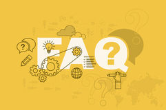 FAQ web page banner concept with thin line flat design Stock Photos